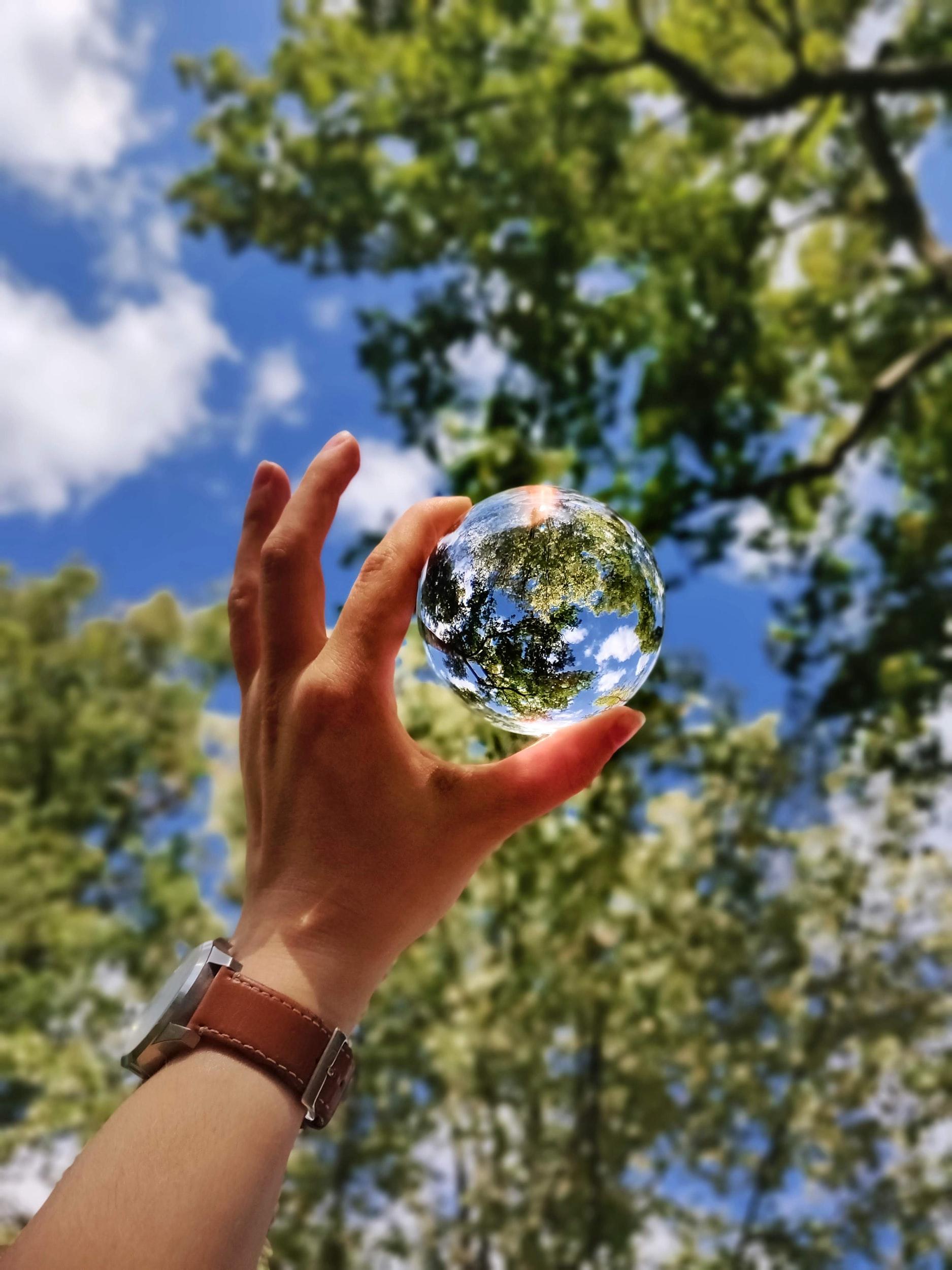 Hand holding up a glass globe against a leafy backdrop. Photo by Margot Richard on unsplash.com