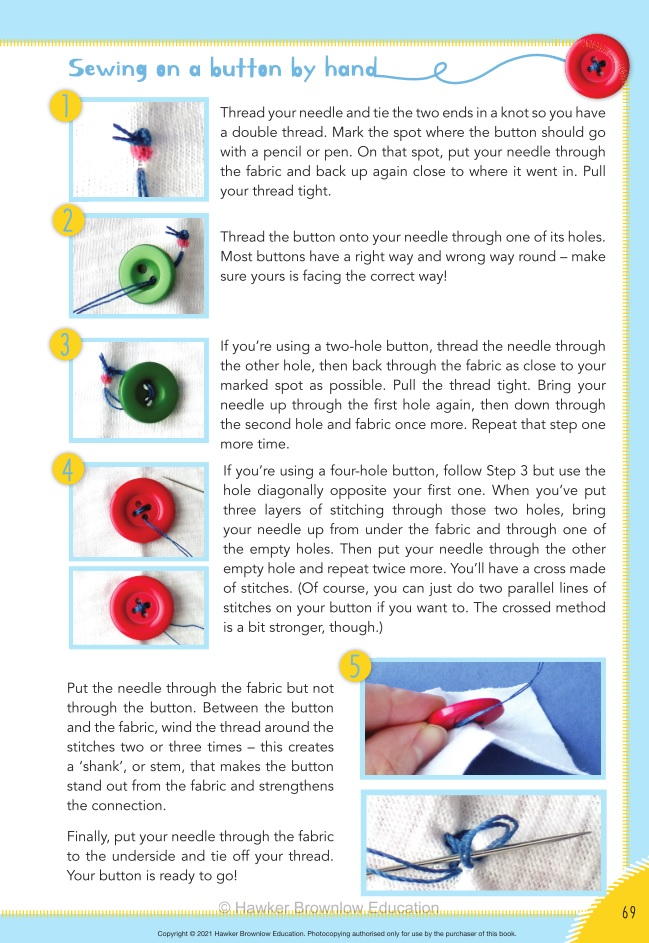 A description of the stages in sewing on a button